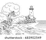 lighthouse sea coast graphic...   Shutterstock .eps vector #683902549