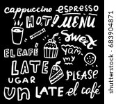 hand drawn set   coffee and cake | Shutterstock .eps vector #683904871