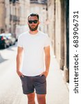 hipster handsome male model... | Shutterstock . vector #683906731