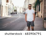 hipster handsome male model... | Shutterstock . vector #683906791