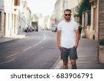 hipster handsome male model... | Shutterstock . vector #683906791