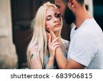 blonde girl and hipster... | Shutterstock . vector #683906815
