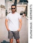 hipster handsome male model... | Shutterstock . vector #683906971