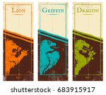 vector set vintage posters with ... | Shutterstock .eps vector #683915917