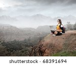 student using a laptop with...   Shutterstock . vector #68391694