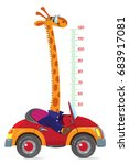 giraffe on car. meter wall or... | Shutterstock .eps vector #683917081