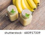 banana smoothies and bananas on ... | Shutterstock . vector #683917339