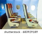 interior of airplane cabin seat ... | Shutterstock . vector #683929189