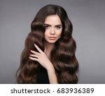 beauty hair. brunette girl with ...   Shutterstock . vector #683936389