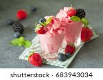 soft homemade whipped berry ice ... | Shutterstock . vector #683943034