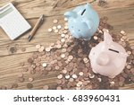 table with two piggy banks... | Shutterstock . vector #683960431