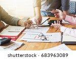 business people discuss stock... | Shutterstock . vector #683963089