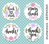 thank you floral labels on the... | Shutterstock .eps vector #683964364