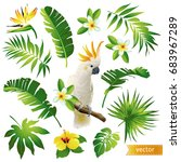 set with tropical leaves ... | Shutterstock .eps vector #683967289