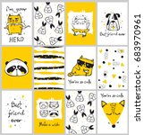 vector cards with cute animals... | Shutterstock .eps vector #683970961