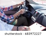 learner driver student driving... | Shutterstock . vector #683972227