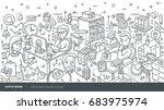vector hand drawn isometric... | Shutterstock .eps vector #683975974
