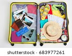 packed luggage for family... | Shutterstock . vector #683977261