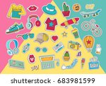 hipster collage in cartoon... | Shutterstock .eps vector #683981599