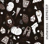 autumn seamless pattern.... | Shutterstock . vector #683982319