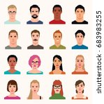 set of vector avatars icons men ... | Shutterstock .eps vector #683983255