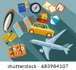 flat design concept for travel... | Shutterstock .eps vector #683984107