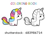 coloring page of cute little...   Shutterstock .eps vector #683986714