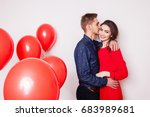 young handsome guy kisses his... | Shutterstock . vector #683989681