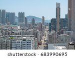 crowded buildings in hong kong | Shutterstock . vector #683990695