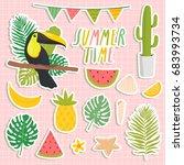 set of cute summer stickers.... | Shutterstock .eps vector #683993734