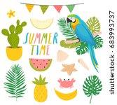 set of cute summer stickers.... | Shutterstock .eps vector #683993737