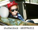 portrait of cute toddler boy... | Shutterstock . vector #683996311