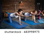 group of girls doing exercises... | Shutterstock . vector #683998975