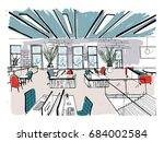 hand drawn coworking cluster.... | Shutterstock .eps vector #684002584