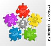 five piece puzzle business... | Shutterstock .eps vector #684005221