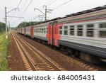moving suburban train in the... | Shutterstock . vector #684005431