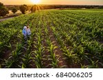 top view. a farmer and his wife ... | Shutterstock . vector #684006205
