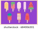 cute ice cream for summer... | Shutterstock .eps vector #684006301
