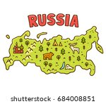 cute cartoon map of russia with ... | Shutterstock .eps vector #684008851