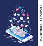 isometric concept of smartphone ... | Shutterstock .eps vector #684009067
