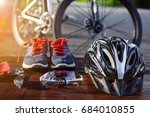 set bicycle equipment on a top... | Shutterstock . vector #684010855