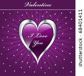 valentine love heart in purple... | Shutterstock . vector #68401411