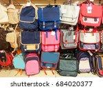 school bags in a supermarket ... | Shutterstock . vector #684020377