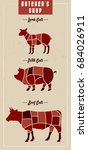 how to buy meat guide to cuts... | Shutterstock .eps vector #684026911
