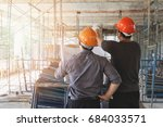 engineer discussing with... | Shutterstock . vector #684033571