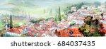 spring landscape  sunny village ... | Shutterstock . vector #684037435
