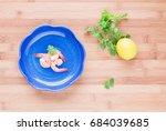 top view of shrimps in blue... | Shutterstock . vector #684039685