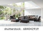 modern white living room and... | Shutterstock . vector #684042919