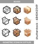 isometric carton packaging... | Shutterstock .eps vector #684043549