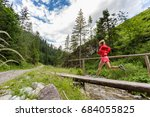 young woman running in... | Shutterstock . vector #684055825